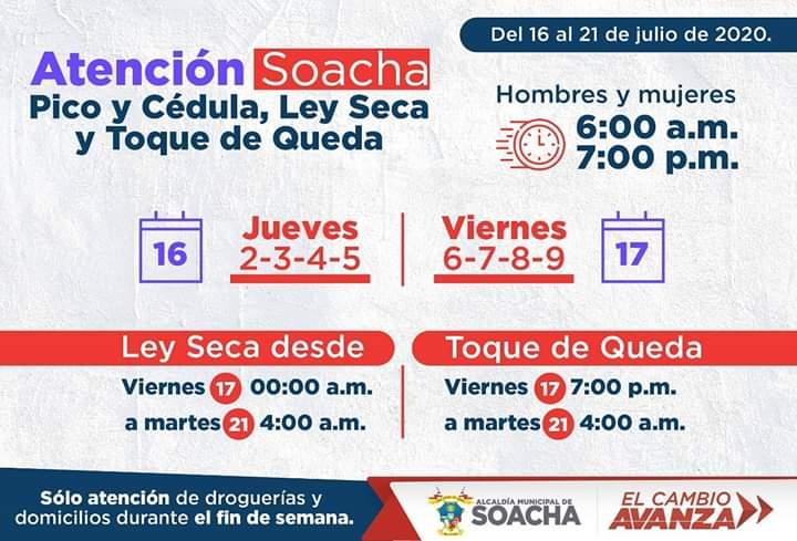 Atención Soacha Pico y Cédula, Ley seca y Toque de queda.