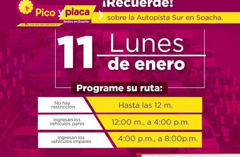 Soacha tendrá Pico y Placa Festivo en el Plan Retorno del 11 de enero de 2021