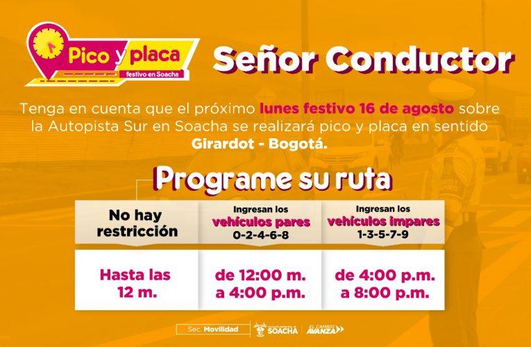 Soacha tendrá Pico y Placa el 16 de agosto lunes festivo sobre la Autopista Sur